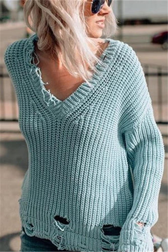 Pure Color Sexy V-Neck Oversized Sweaters