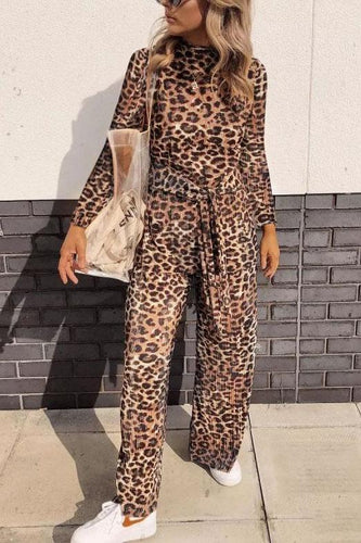 Fashion High Collar Leopard Printed Slim Jumpsuit