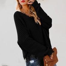 Load image into Gallery viewer, V Neck Loose Solid Color Top Sweater