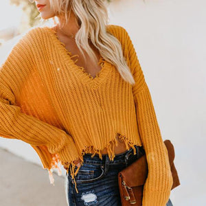 V Neck Loose Solid Color Top Sweater
