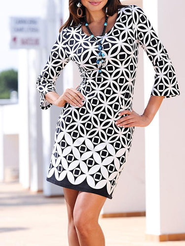 Fashion Printed Round Collar Long Sleeve Bodycon Dress
