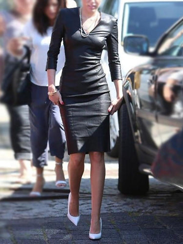 Fashion V-Neck Long Sleeve Bodycon Dress