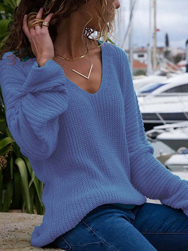 Fashion V-Neck Long Sleeve Knit Sweater