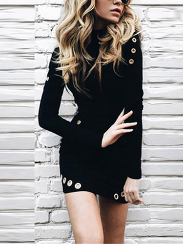 Slim-Fit Sexy Stand Collar Long-Sleeved Bodycon Dress