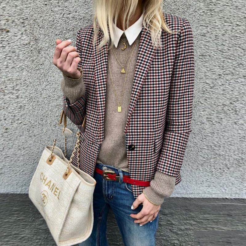 Fashion Slim Plaid Long Sleeve Blazer