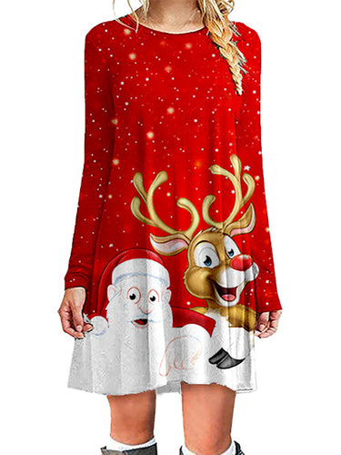 Christmas Long Sleeve Printed Loose Casual Dress