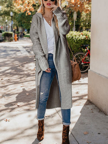 Daily Fashion Casual Solid Color Loose Long Sleeve Knitting Coat Long Cardigan