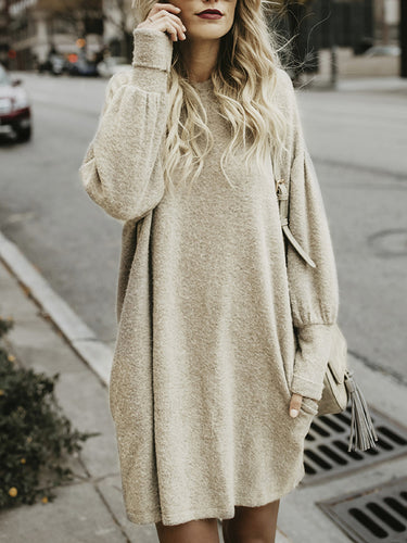 Solid Color Round Neck Long Sleeve Bat Sweater