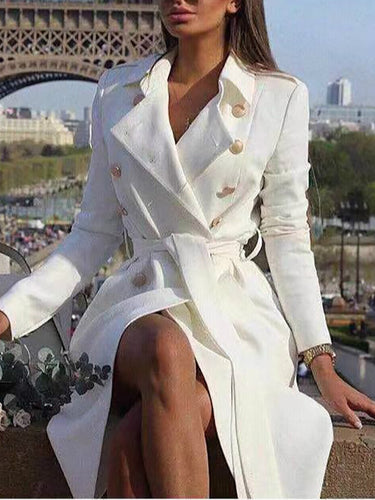Sexy Double-Breasted Suit Collar Slim Trench Coat