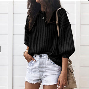 Fashion Latern Sleeve Loose Fit Sweater