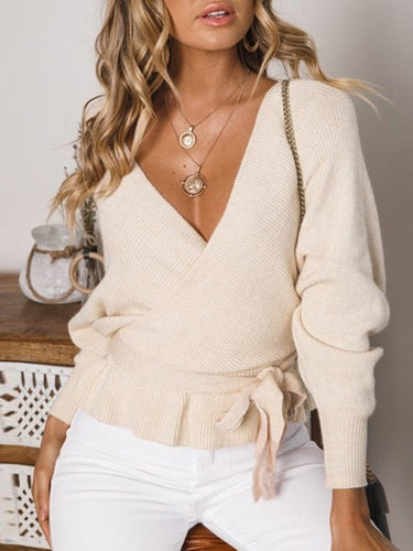 Hot Fashion V-Neck Strapless Open Back Long Sleeve Top