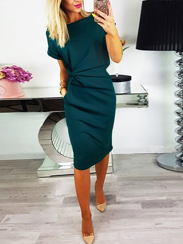 Scoop Neck  Inverted Pleat  Bust Darts  Plain Bodycon Dresses