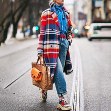 Load image into Gallery viewer, Fashion Lapel Collar Red Blue Check Printed Woolen Loose Long Coat