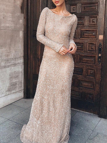 Elegant Slim Long Sleeve Evening Dress