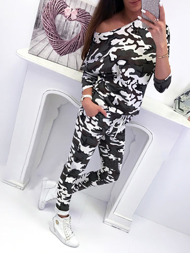 Fashion Camouflage Long Sleeve Two Piece Outfit