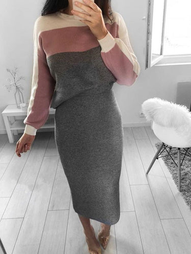 Contrast Stitching Sweater Long Sleeve Tops Bodycon Dress Suits