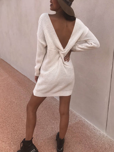 Fashion V-Neck Backless Long Cut Sweater