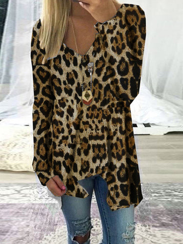 Fashion V-Neck Leopard Irregular Long Sleeve T-Shirts