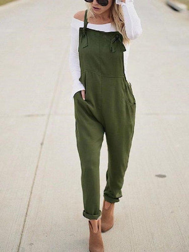 New Fashion Solid Color Pocket Casual Jumpsuit