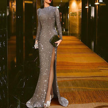 Load image into Gallery viewer, Elegant Silver Split Sexy Round Neck Evening Dress