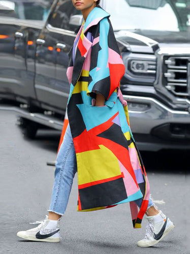 Fashion Multi Color Blocking Long Sleeve Coat