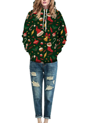 Stylish Casual Youth Loose Christmas Pattern Print Long Sleeve Women Hoodie