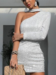 Fashion Sexy Shiny Asymmetric Strapless Evening Dress