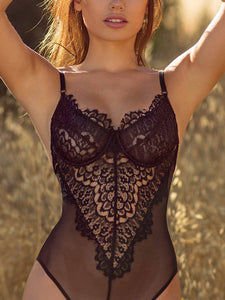 Sexy Hollow Lace One Piece Lingerie