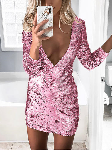 Sexy Sequined Deep V Bodycon Dress