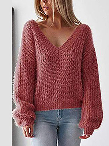 Sexy Deep V Plush Knit Bottoming Sweater