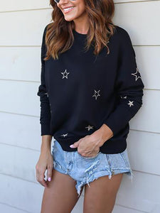 Fashion Long Sleeve Round Neck Floral T-Shirt