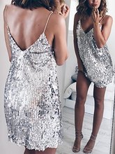 Load image into Gallery viewer, Sexy Deep V Sequin Stitching Slim Strap Dress