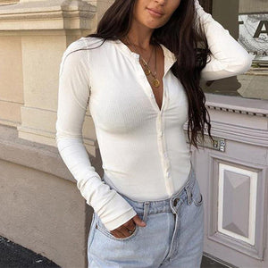 Long Sleeve Half-Open Collar T-Shirt Button Solid Color Slim Bodysuit