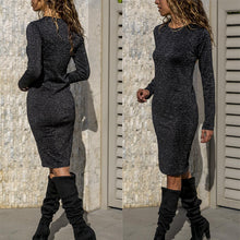 Load image into Gallery viewer, Fashion Round Neck Long Sleeve Shinny Dress