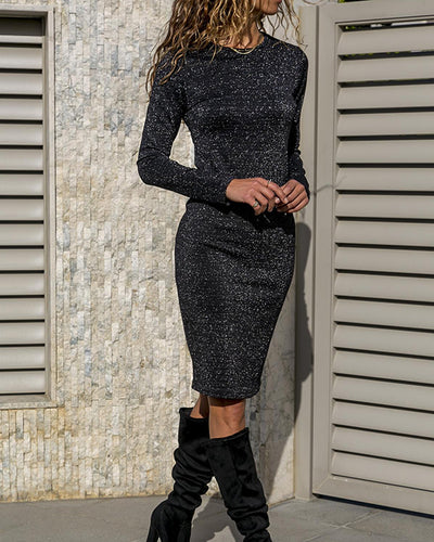 Fashion Round Neck Long Sleeve Shinny Dress