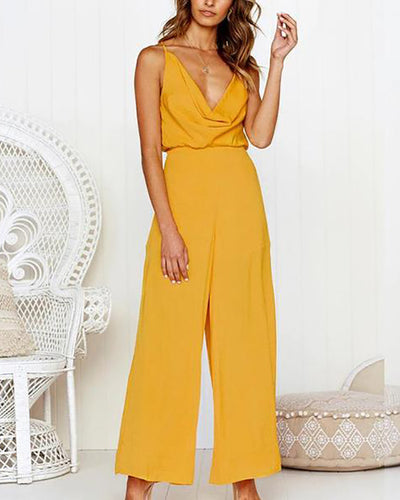 Solid Color Sexy Deep V-Neck Strapless Strap Long Loose Jumpsuit