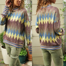 Load image into Gallery viewer, Fashion High Collar Geometric Pattern Long Sleeve Sweater
