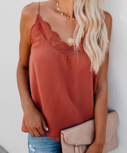 Sexy Lace Split Joint Plain Sleeveless Vest