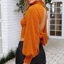 Load image into Gallery viewer, Sexy  Backless Long Sleeve Knit Shirts