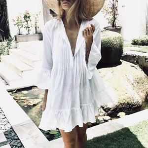 Fashion V Neck Flare Sleeves Beach Mini Dress