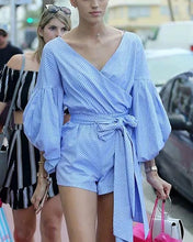 Load image into Gallery viewer, Fashion Striped Lantern Sleeves Rope V-Neck Shirt-Style Cross Wrap Jumpsuit