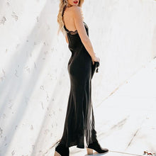 Load image into Gallery viewer, Sexy Sling Solid Color Lace Panel Long Dress