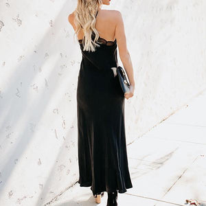 Sexy Sling Solid Color Lace Panel Long Dress