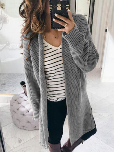 Fashion  Solid Color Casual Loose Cardigans