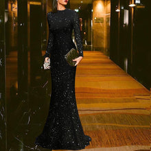 Load image into Gallery viewer, Elegant Black Round Neck Evening Dress