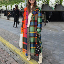 Load image into Gallery viewer, Fashion Lapel Collar Check Color Blocking Long Coat