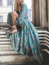 Load image into Gallery viewer, Floral Printed Deep V-Neck Splicing Maxi Dress