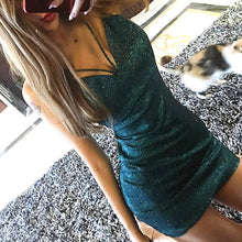 Load image into Gallery viewer, Sexy V-Neck Nightclub Shinny Bodycon Dress