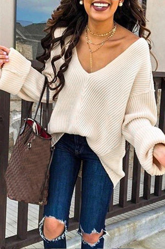 Solid Color Loose V-Neck Long Sleeve Sweater