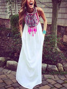 Sleeveless Printed With Tassel Loose Maxi Dress